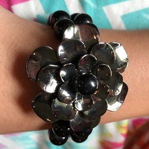 Jewelry - New Black Metal Flower & Beaded Stretch Bracelet